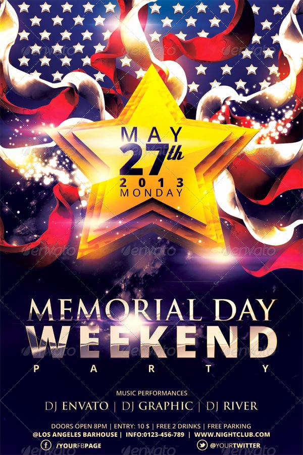 Memorial Day Flyer Template Free Beautiful Memorial Day Weekend Party Flyer Template by Hermz
