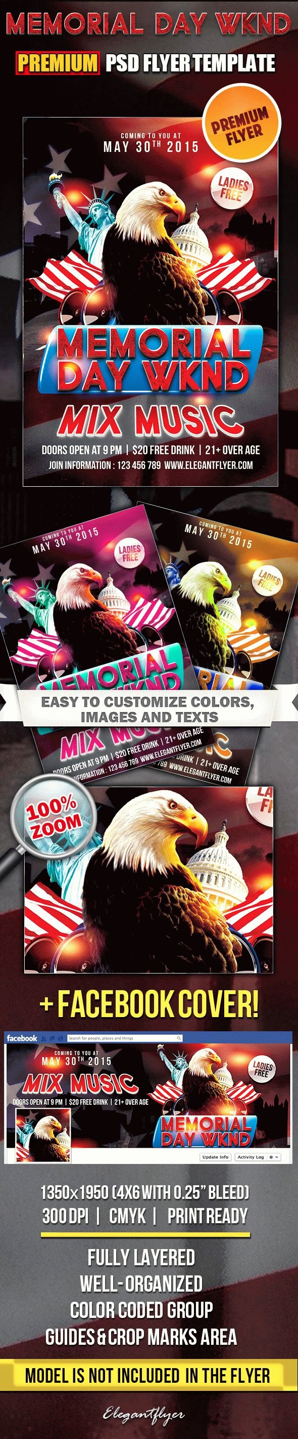 Memorial Day Flyer Template Free Beautiful Memorial Day Wknd – Flyer Psd Template – by Elegantflyer