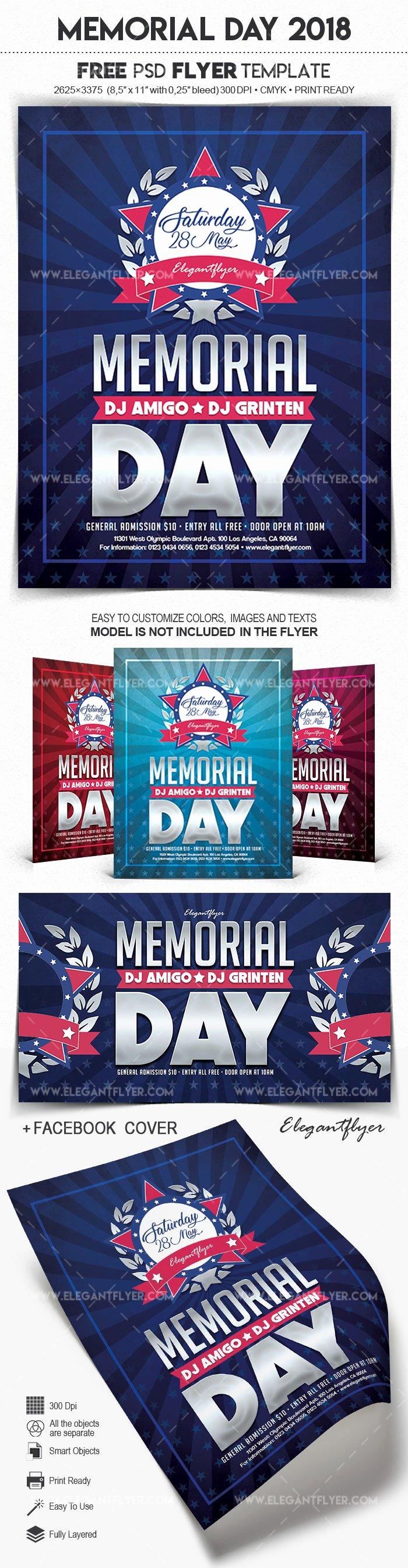 Memorial Day Flyer Template Free Elegant Memorial Day 2018 – Free Flyer Psd Template – by Elegantflyer