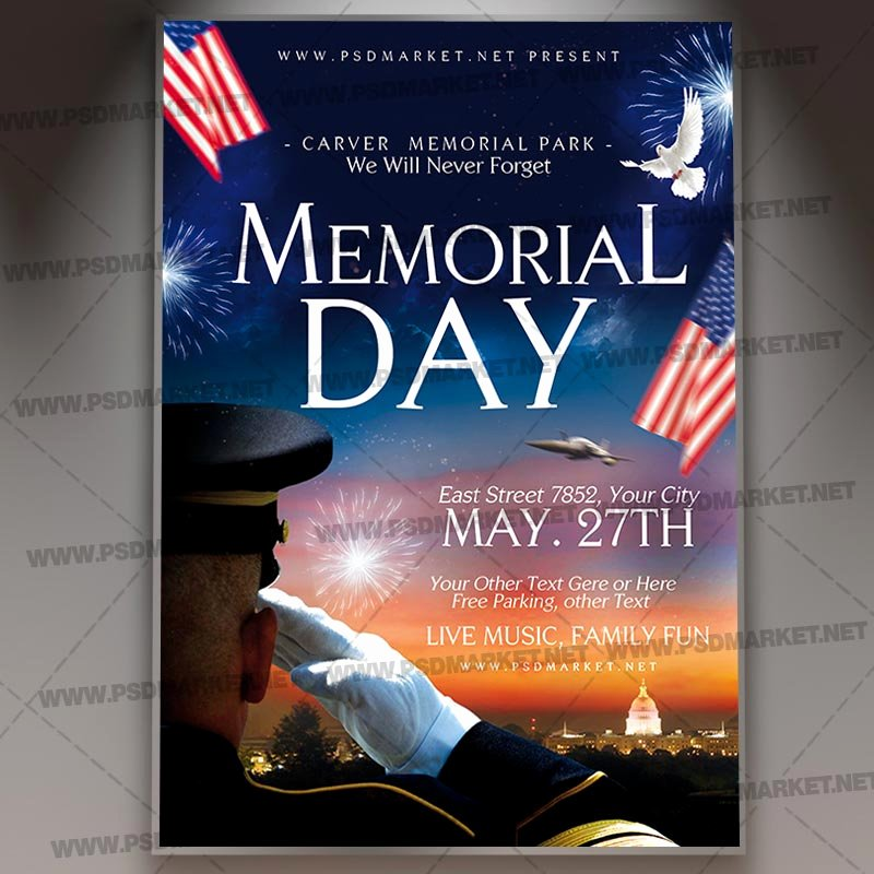 Memorial Day Flyer Template Free New Download Happy Memorial Day Flyer Psd Template