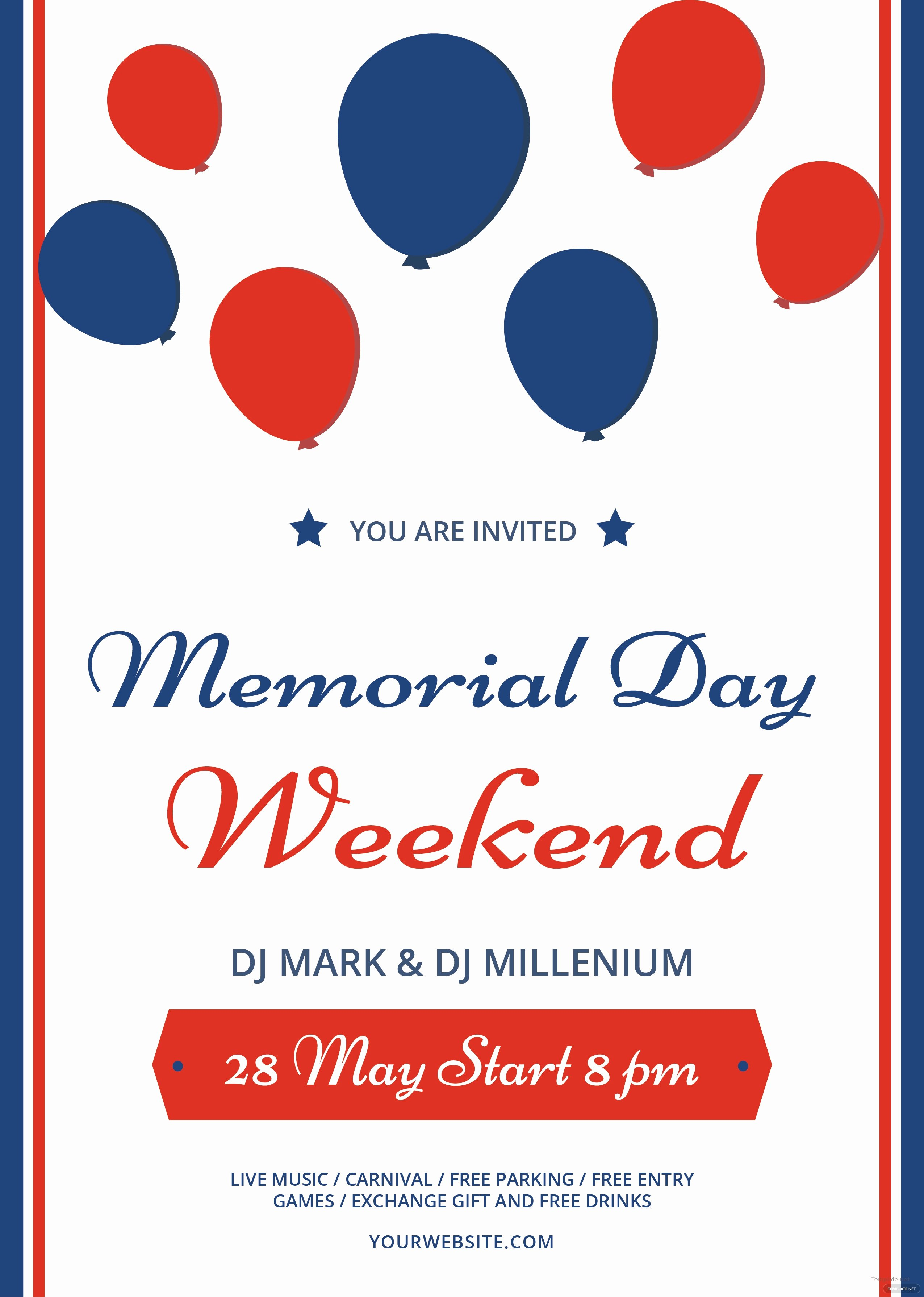 Memorial Day Flyer Template Free Unique Free Memorial Day Weekend Flyer Template In Adobe Illustrator
