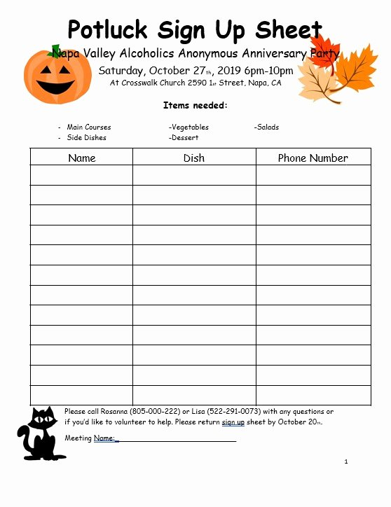 Mexican Potluck Signup Sheet Awesome 10 Free Potluck Sign Up Sheets Template & Example Calypso Tree