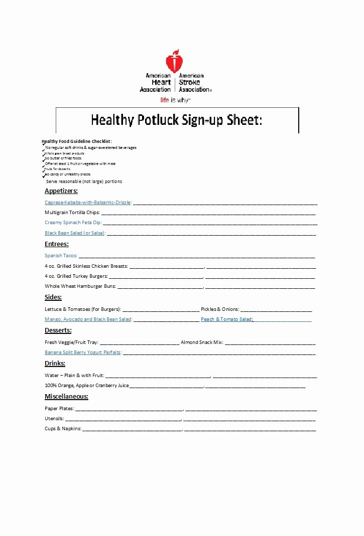 Mexican Potluck Signup Sheet Lovely 38 Best Potluck Sign Up Sheets for Any Occasion Template Lab