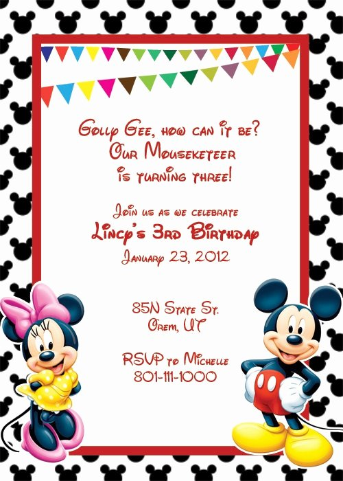 Mickey Mouse Birthday Card Template Beautiful Mickey Mouse Invitation Template