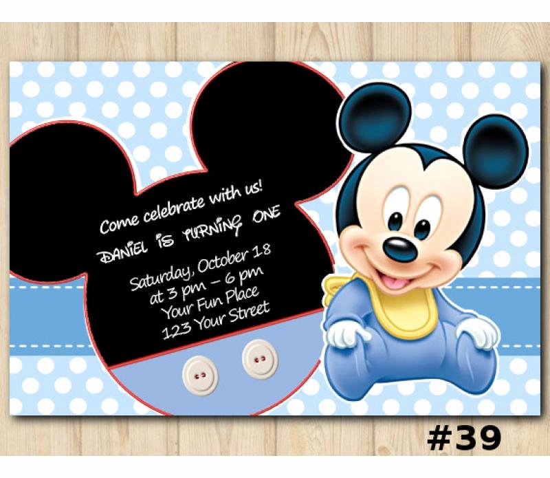 Mickey Mouse Birthday Card Template Best Of Mickey Mouse Birthday Invitation Mickey Mouse Invitation