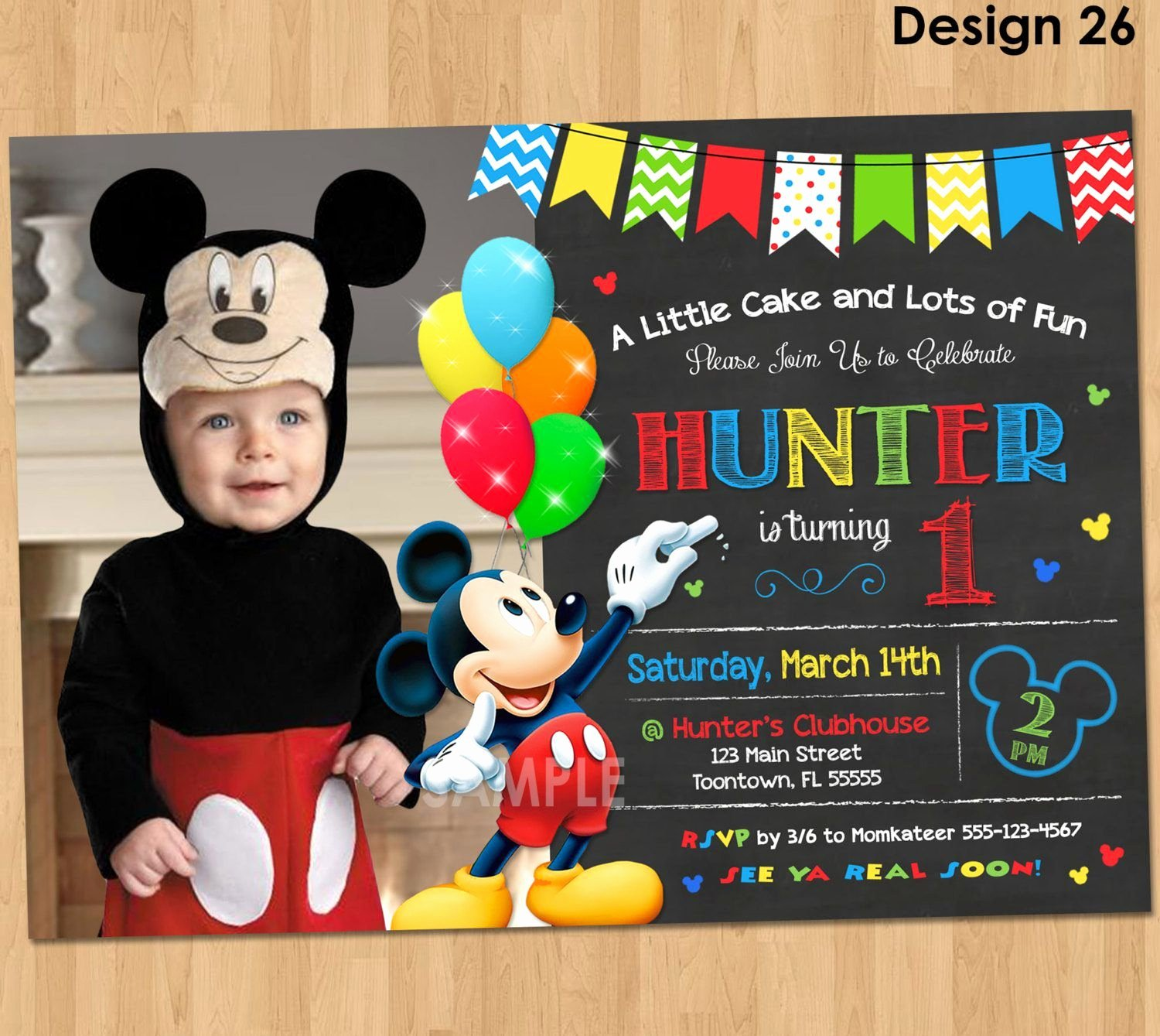 Mickey Mouse Birthday Card Template Fresh Free Mickey Mouse Birthday Invitation Cards