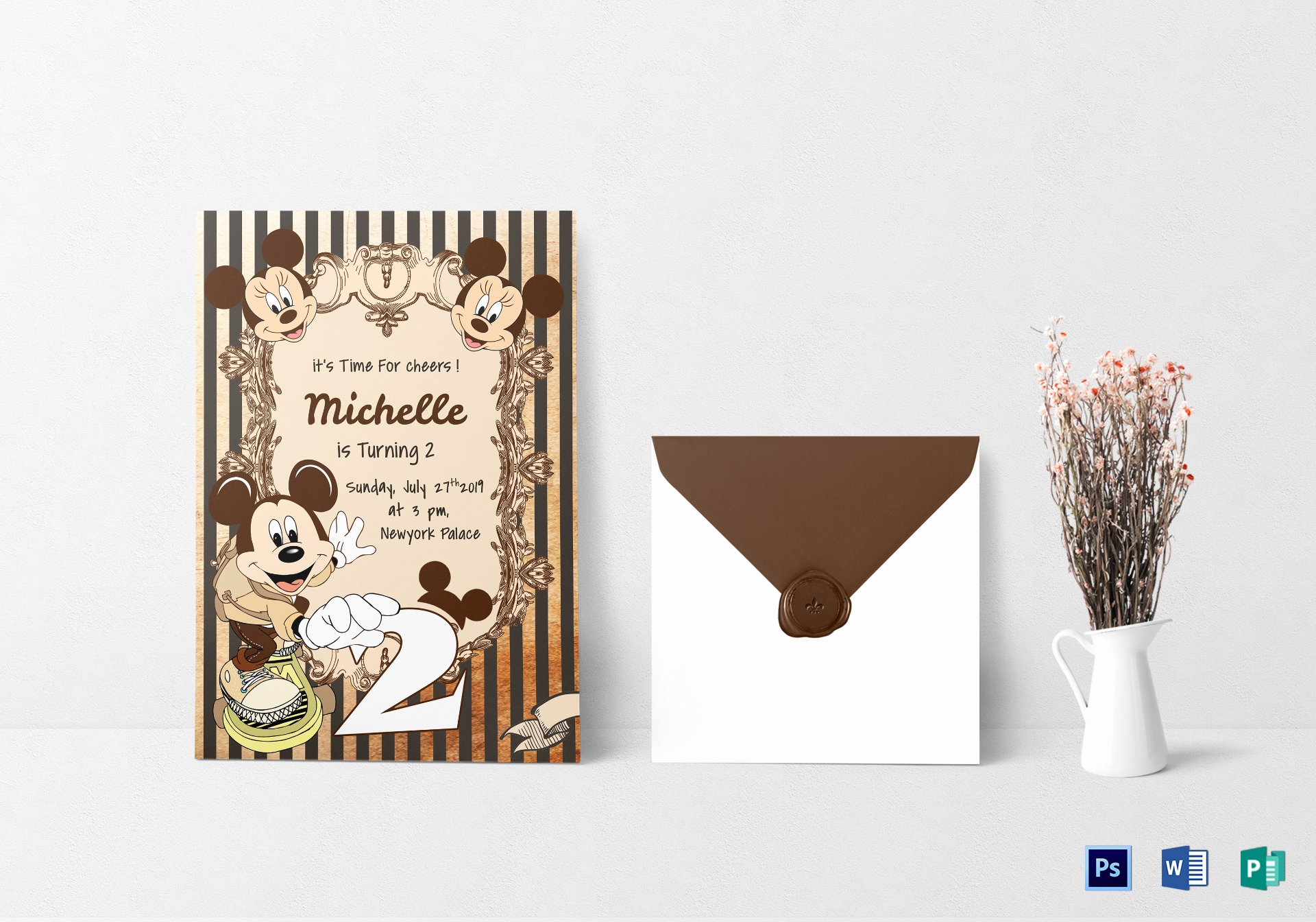 Mickey Mouse Birthday Card Template Inspirational Elegant Mickey Mouse Birthday Invitation Card Design
