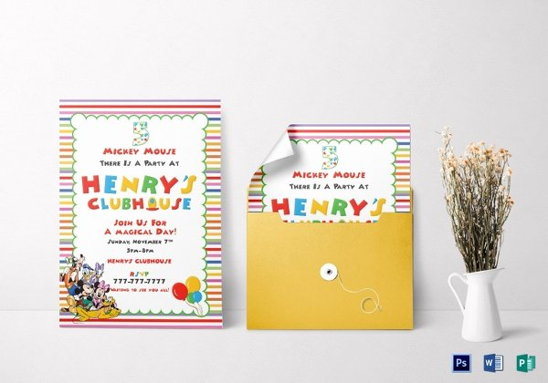Mickey Mouse Birthday Card Template Inspirational Mickey Mouse Invitation Templates – 26 Free Psd Vector