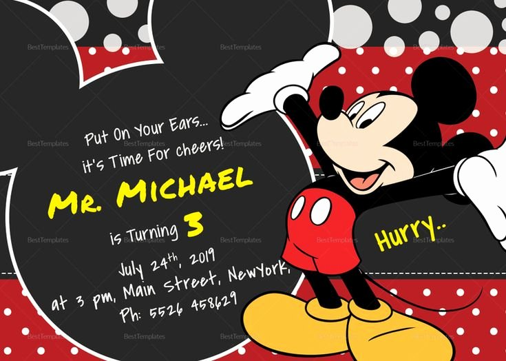 Mickey Mouse Birthday Card Template New Delightful Mickey Mouse Birthday Invitation Card Template