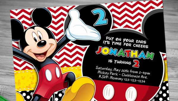 Mickey Mouse Birthday Card Template New Mickey Mouse Invitation Templates – 26 Free Psd Vector