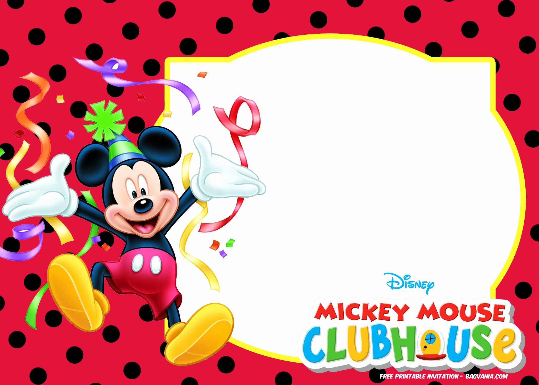 Mickey Mouse Birthday Card Template Unique Free Mickey Mouse Summer Birthday Invitations Free