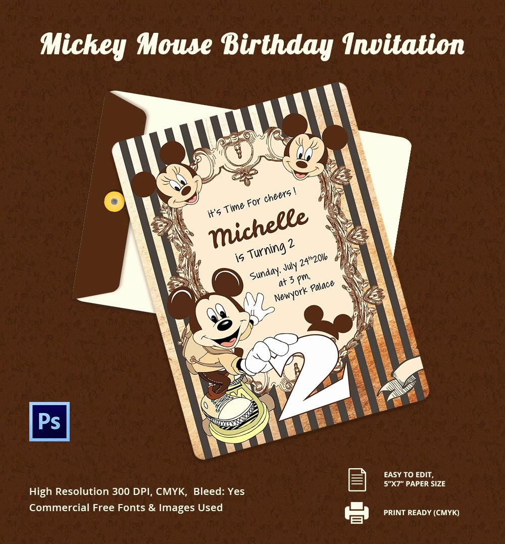 Mickey Mouse Birthday Card Template Unique Invitation Card Template – 25 Free Psd Ai Vector Eps