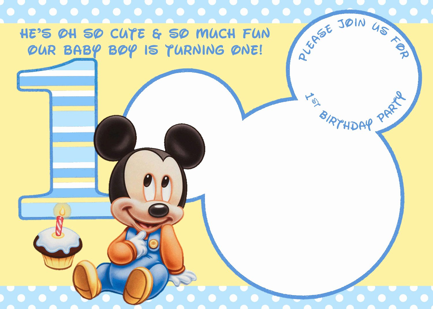 Mickey Mouse Birthday Card Template Unique Mickey Mouse 1st Birthday Invitations Free Invitation