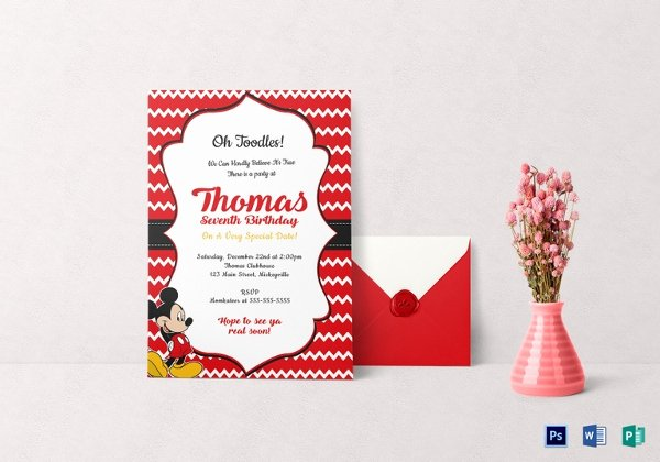 Mickey Mouse Birthday Card Template Unique Mickey Mouse Invitation Templates – 26 Free Psd Vector