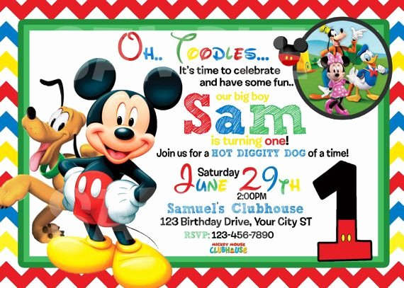 Mickey Mouse Birthday Invitation Template Beautiful Mickey Mouse 1st Birthday Invitations Free Invitation Templates Drevio