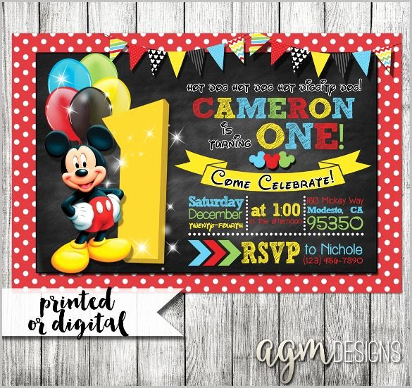 Mickey Mouse Birthday Invitation Template Elegant Mickey Mouse Invitation Template 23 Free Psd Vector Eps Ai format Download