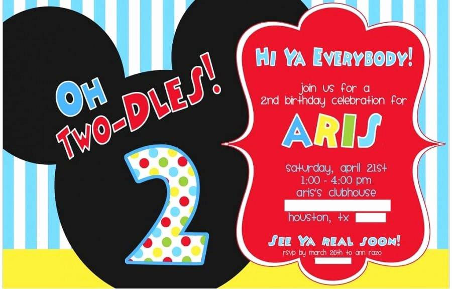 Mickey Mouse Birthday Invitation Template Fresh Mickey Mouse Birthday Party Invitation Flyer Template