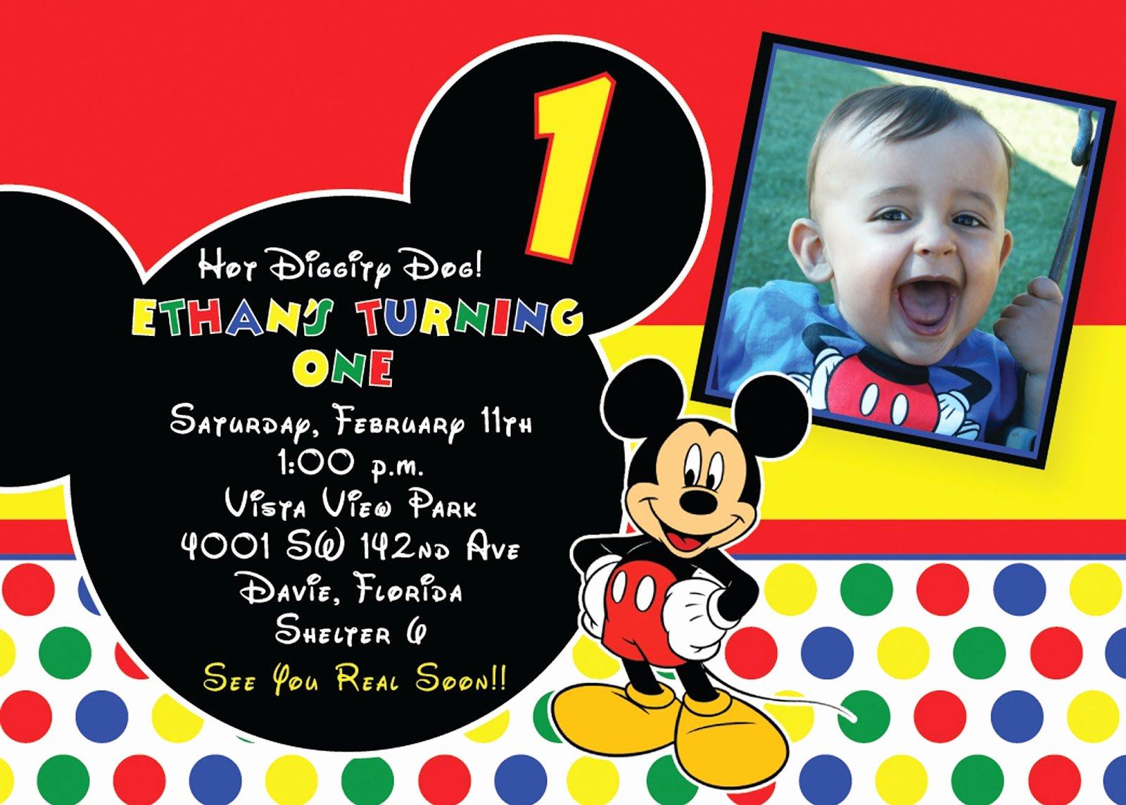 Mickey Mouse Birthday Invitation Template Luxury Free Printable 1st Mickey Mouse Birthday Invitations