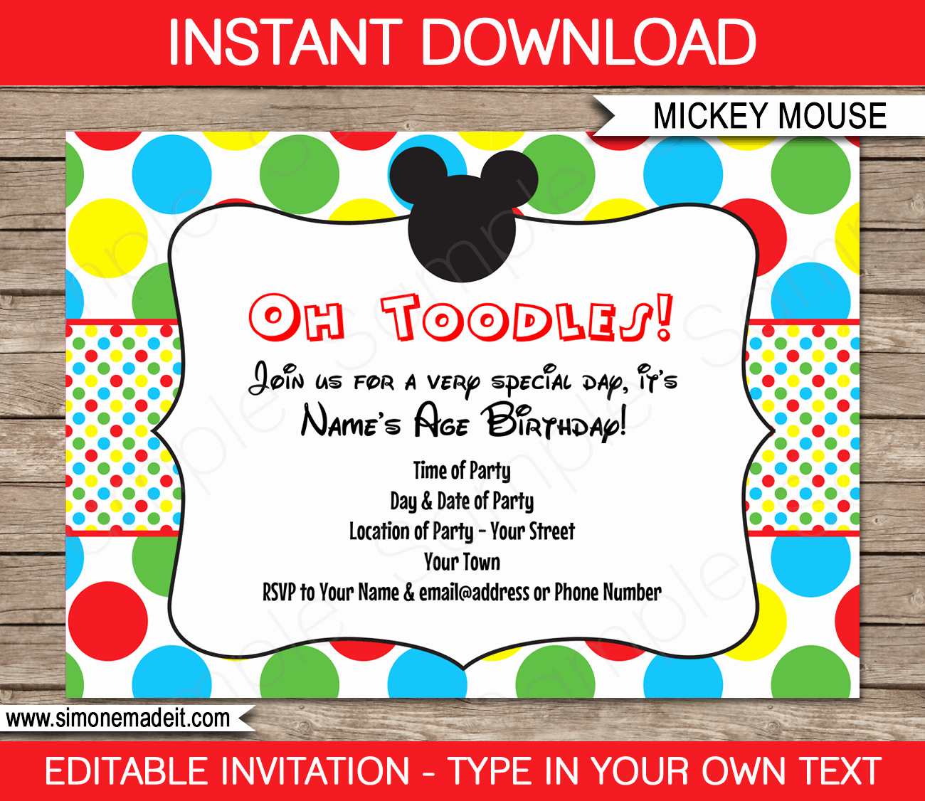 Mickey Mouse Birthday Invitation Template New Mickey Mouse Party Invitations Template