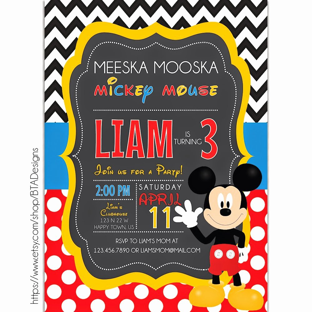 Mickey Mouse Birthday Invitation Template New Mickey Mouse Printable Birthday Invitations