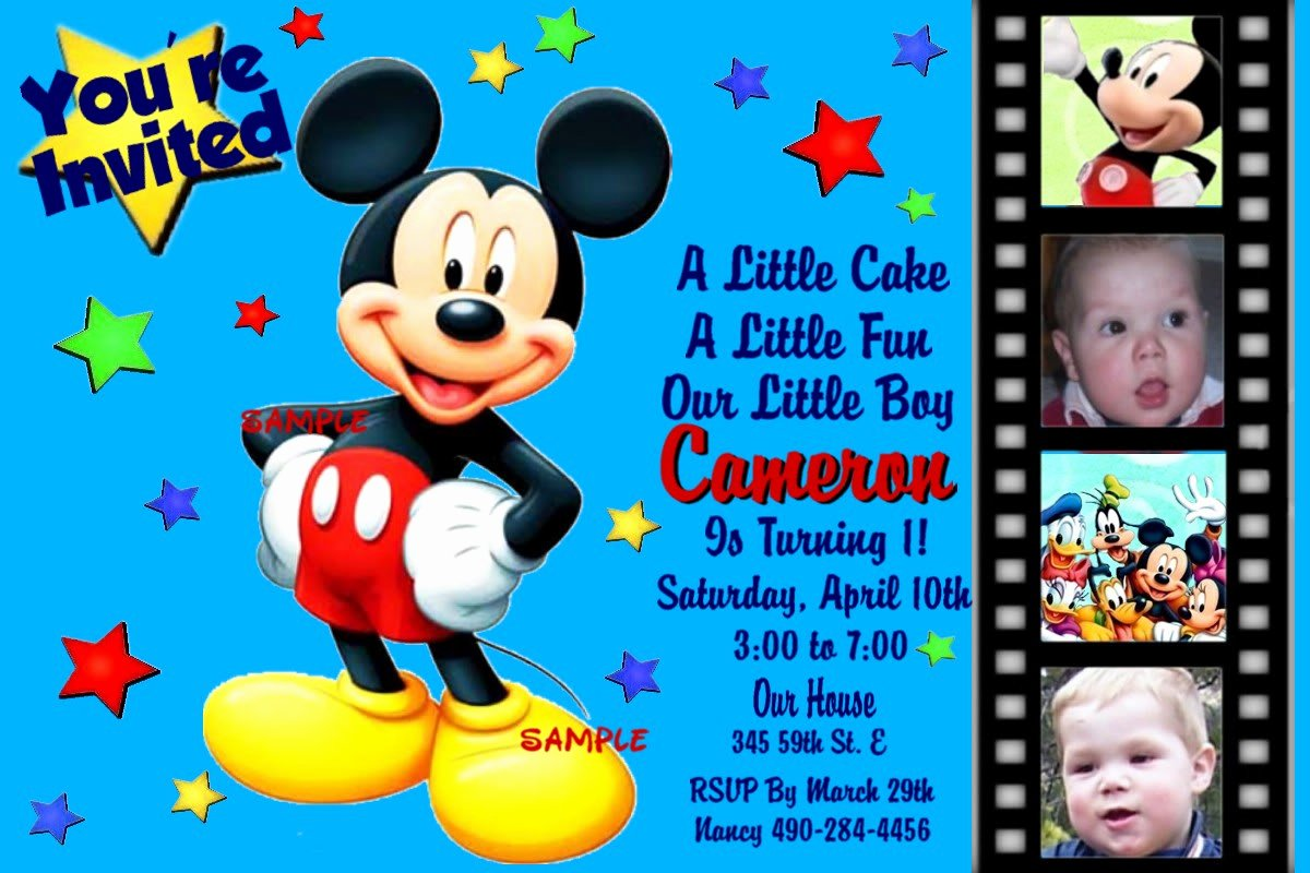Mickey Mouse Birthday Invitation Template Unique Mickey Mouse Birthday Invitation Template