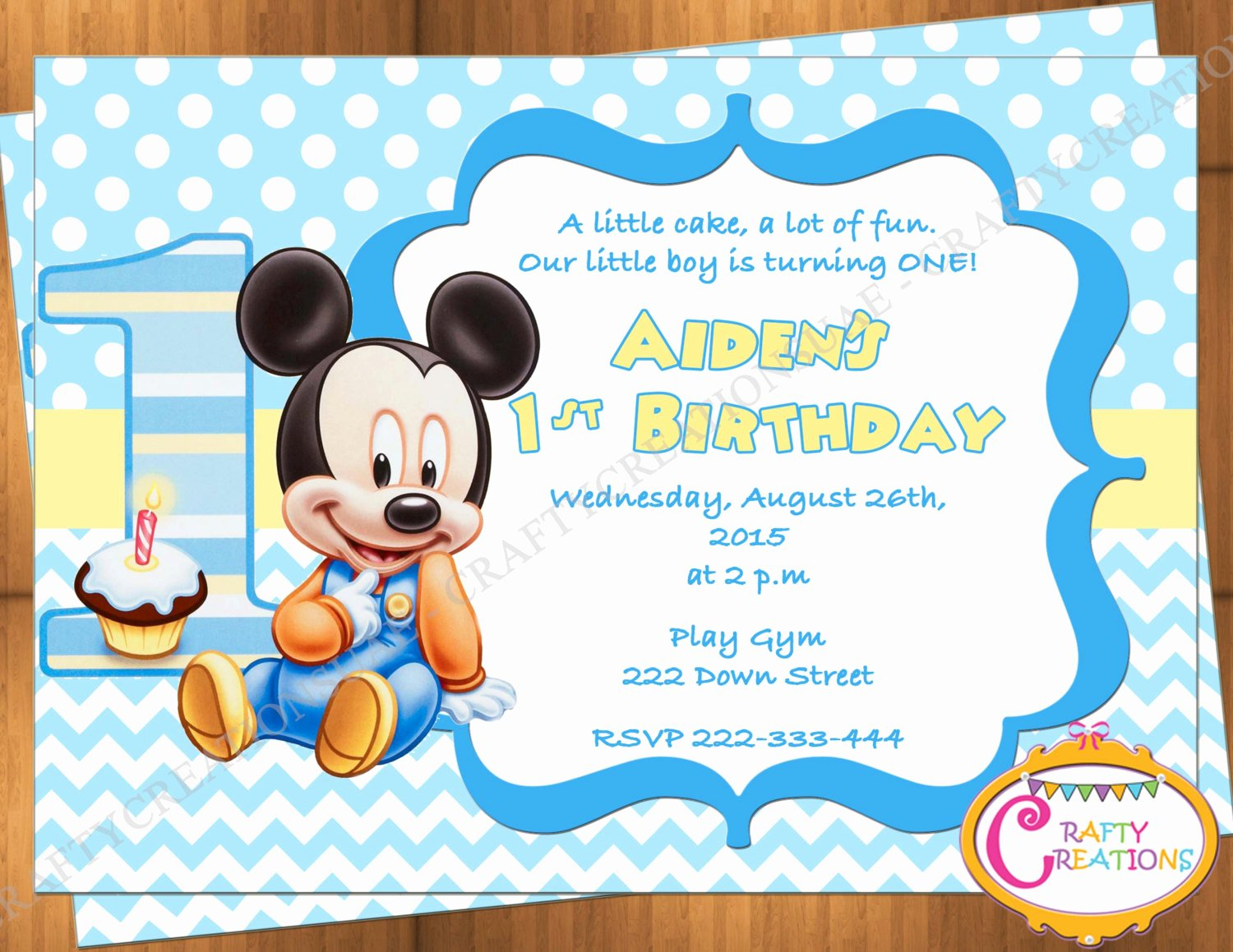 Mickey Mouse Birthday Invitations Awesome Baby Mickey Mouse First Birthday Invitation Mickey Mouse 1st