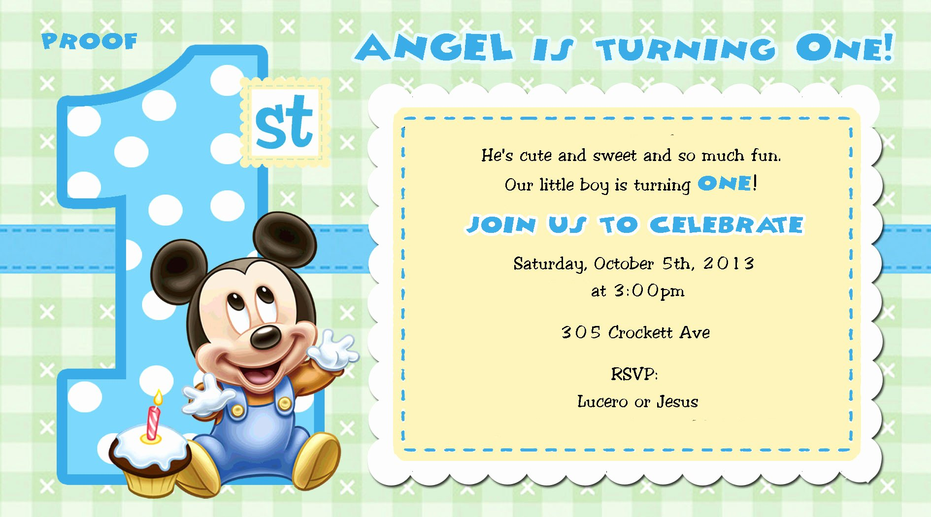 Mickey Mouse Birthday Invitations Beautiful Mickey Mouse 1st Birthday Invitations for Girls and Boys Party Xyz