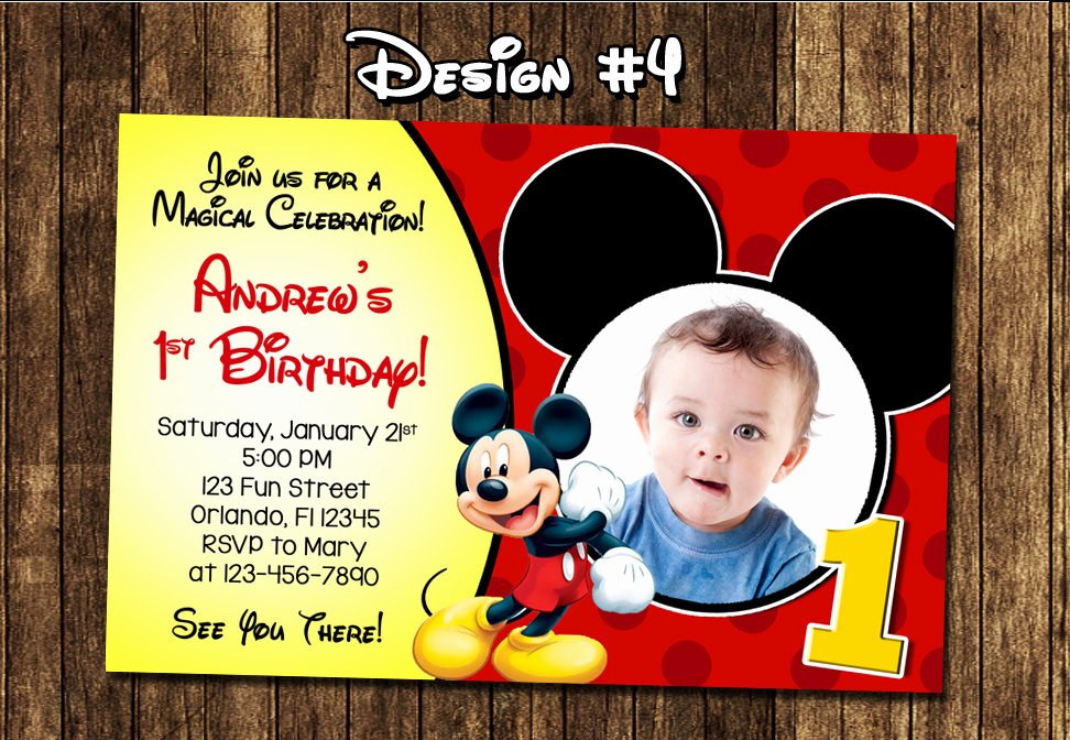 Mickey Mouse Birthday Invitations Beautiful Mickey Mouse Baby First Birthday Party Invitations