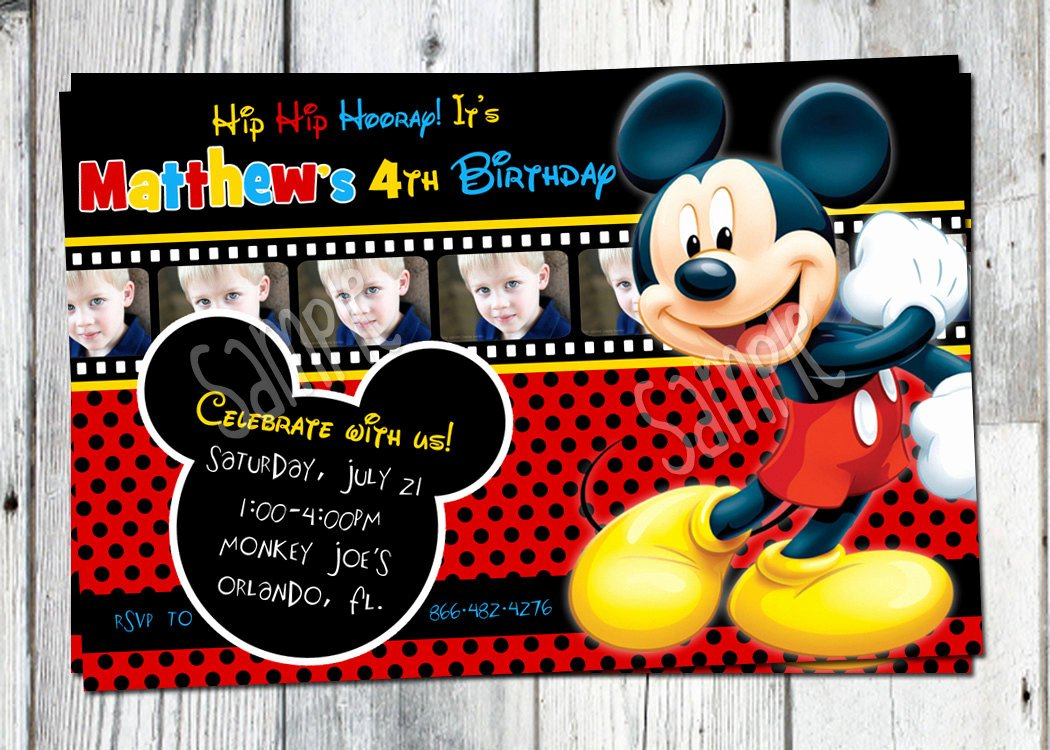 Mickey Mouse Birthday Invitations Beautiful Mickey Mouse Birthday Invitation Printable Boys Personalized