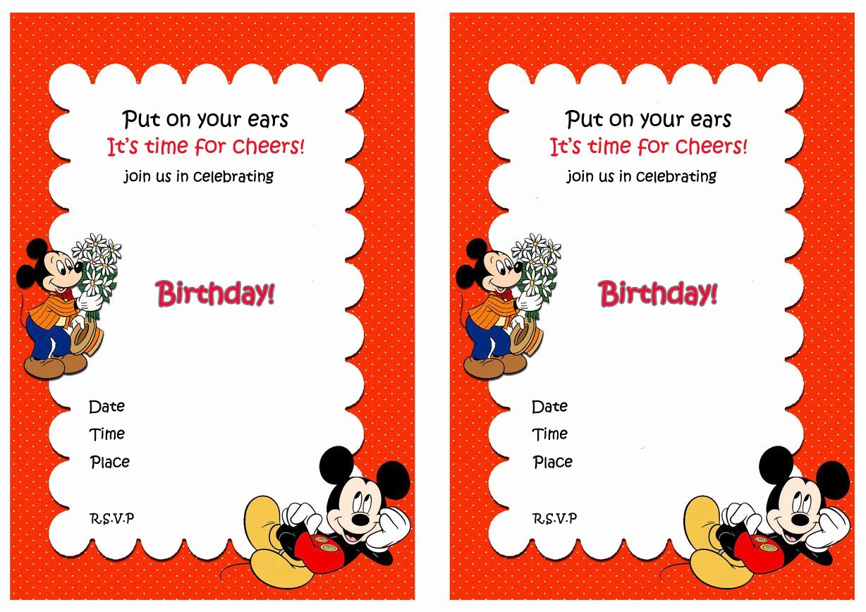 Mickey Mouse Birthday Invitations Beautiful Mickey Mouse Blank Invitations