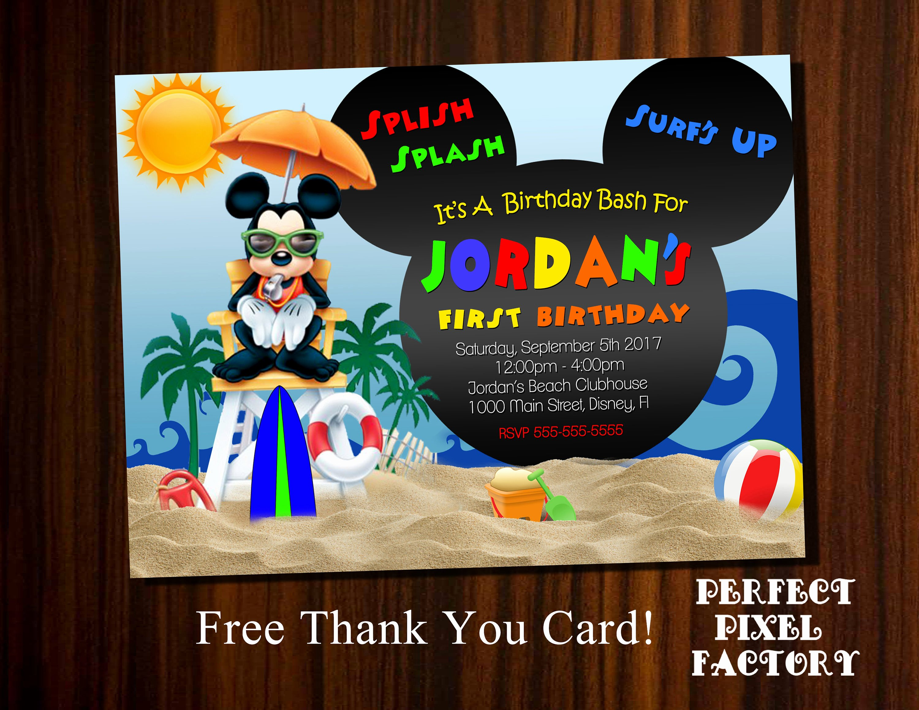 Mickey Mouse Birthday Invitations Best Of Mickey Mouse Pool Party Birthday Invitation Mickey Beach