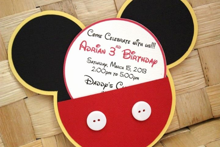 Mickey Mouse Birthday Invitations Inspirational Handmade Mickey Mouse Invitations for Birthdays Baby Showers