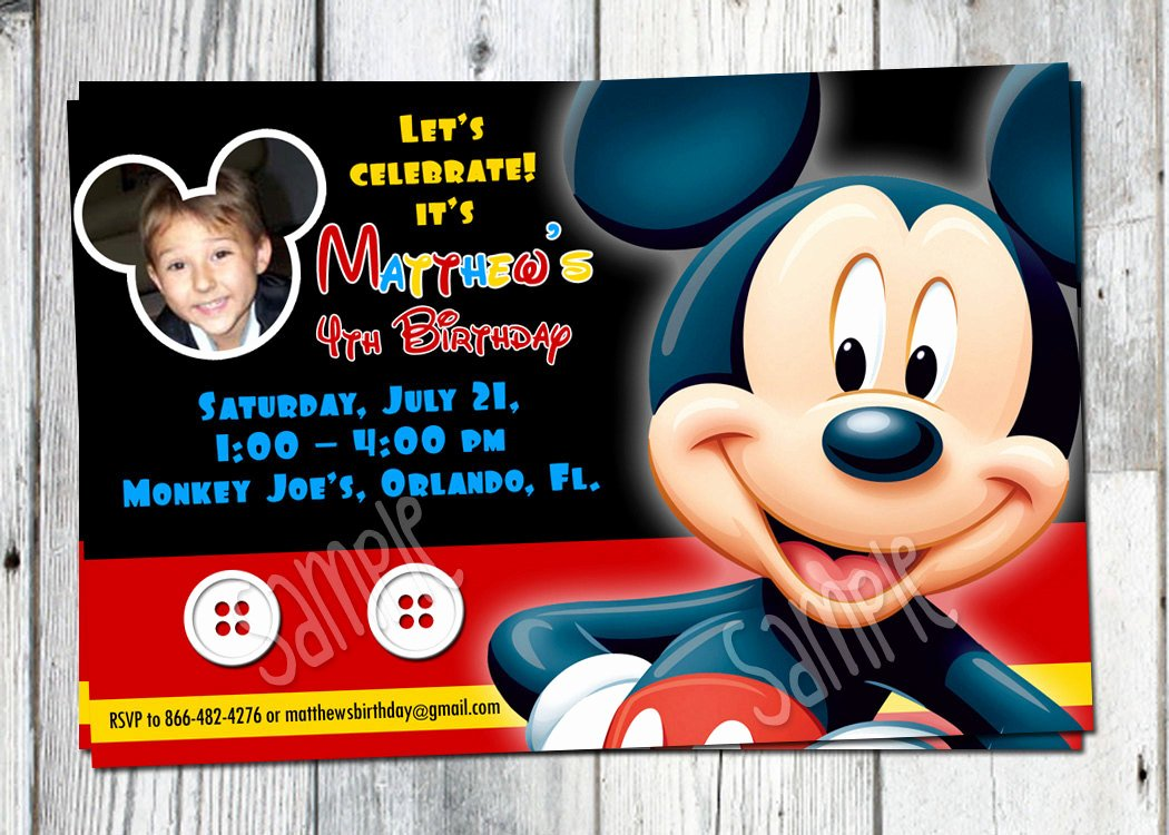 Mickey Mouse Birthday Invitations Inspirational Mickey Mouse Birthday Invitation Printable Boys Personalized