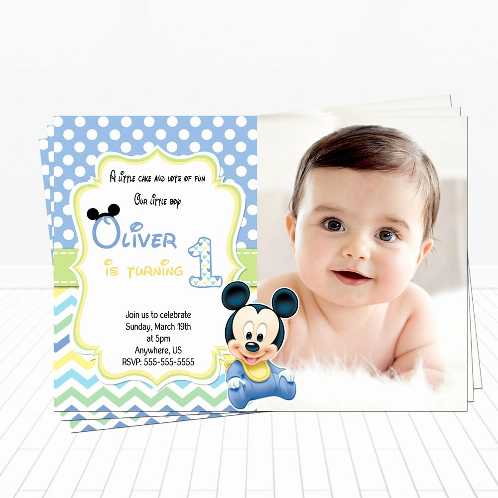 Mickey Mouse Birthday Invitations Inspirational Printed Baby Mickey Mouse 1st Birthday Invitations Mickey Party Invitations