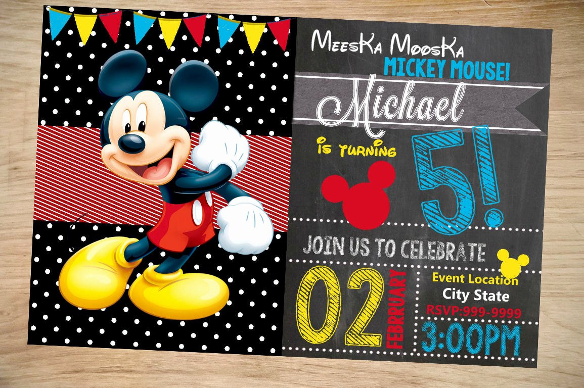 Mickey Mouse Birthday Invitations Lovely Mickey Mouse Birthday Invitation Birthday Invitation