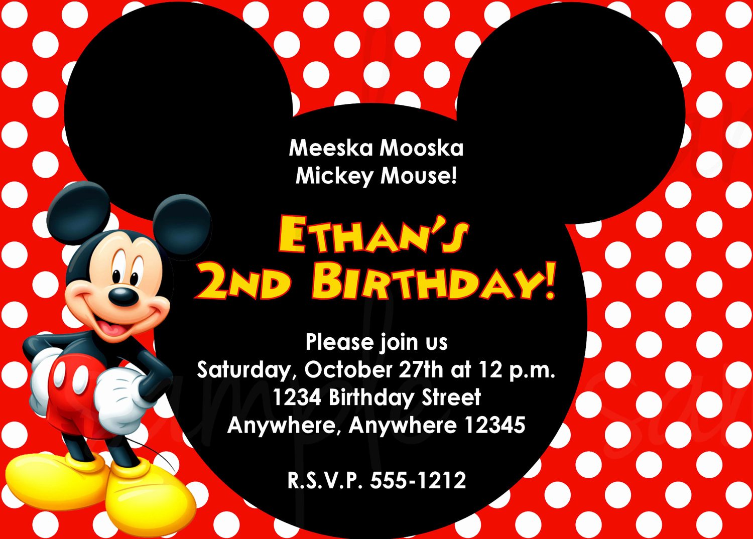 Mickey Mouse Birthday Invitations Lovely Mickey Mouse Birthday Invitation
