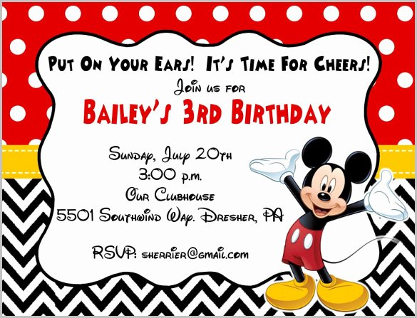 Mickey Mouse Birthday Invitations Template Beautiful Mickey Mouse Invitation Templates – 29 Free Psd Vector