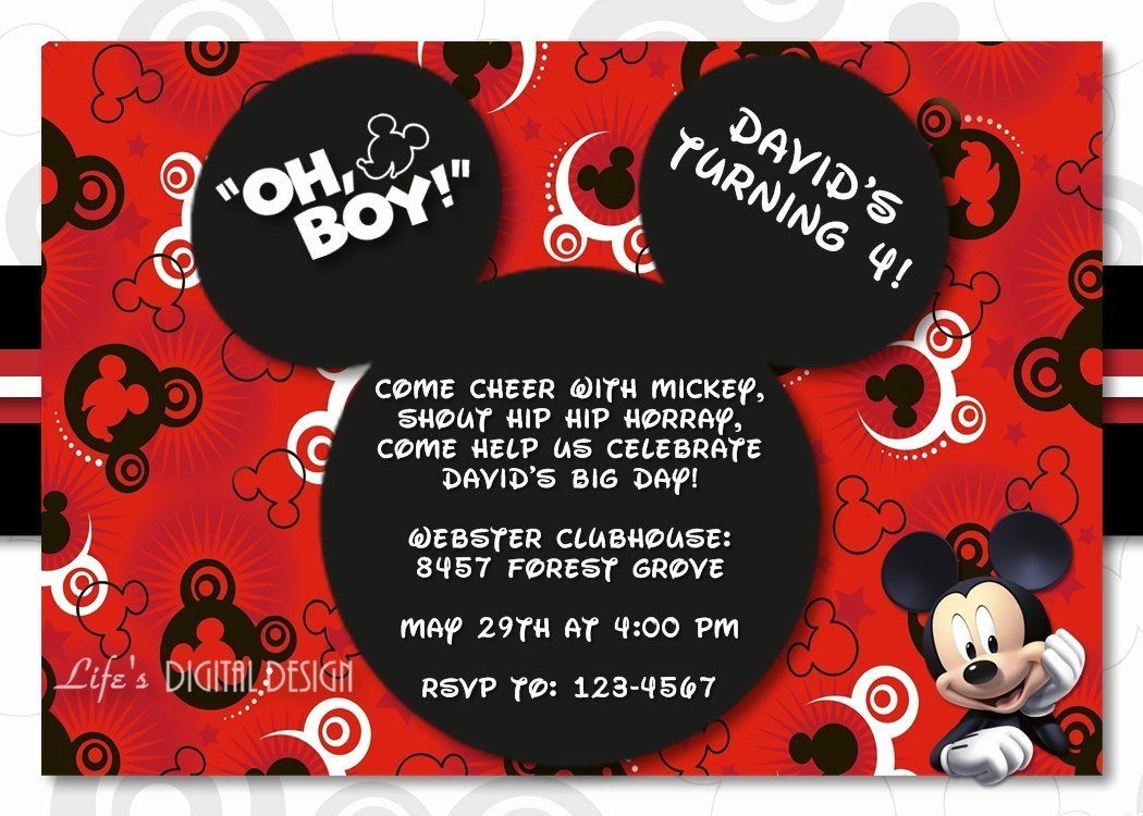 Mickey Mouse Birthday Invitations Template Elegant Mickey Mouse 1st Birthday Invitations for Girls and Boys