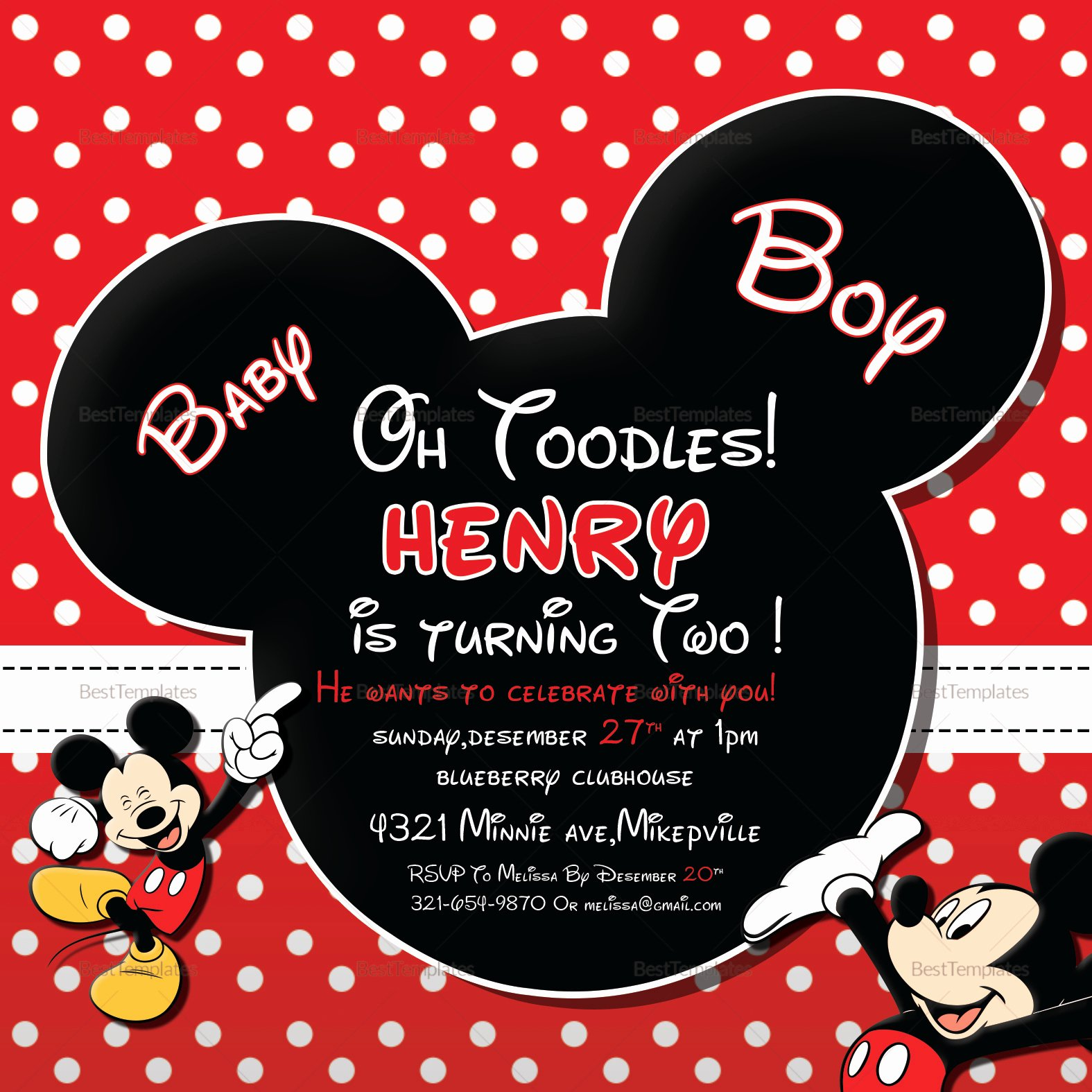 Mickey Mouse Birthday Invitations Template Fresh Cute Mickey Mouse Birthday Invitation Design Template In