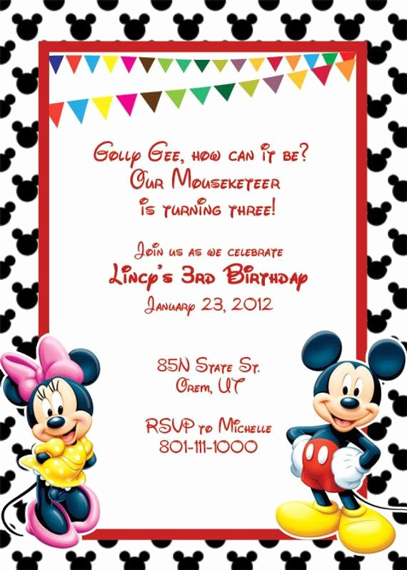 Mickey Mouse Birthday Invitations Template Fresh Items Similar to Mickey Mouse Printable Birthday Party