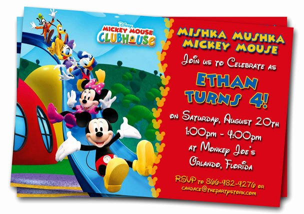 Mickey Mouse Birthday Invitations Template Lovely Free Mickey Mouse Clubhouse 1st Birthday Invitations