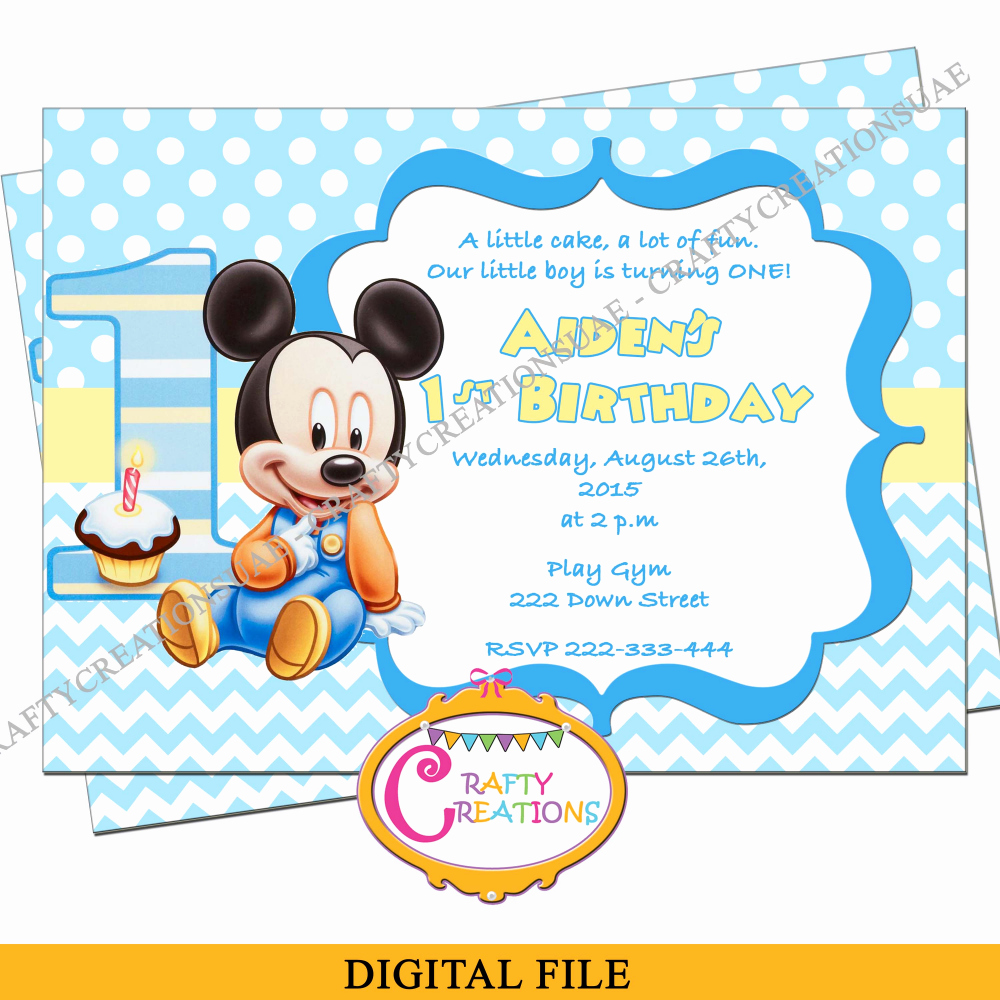 Mickey Mouse Birthday Invitations Template Luxury Baby Mickey Mouse Birthday Invitation Baby Mickey First