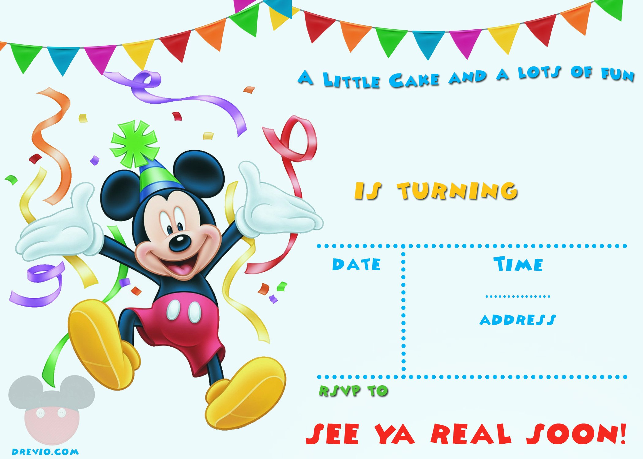 Mickey Mouse Birthday Invitations Template Luxury Free Mickey Mouse 1st Birthday Invitations – Free
