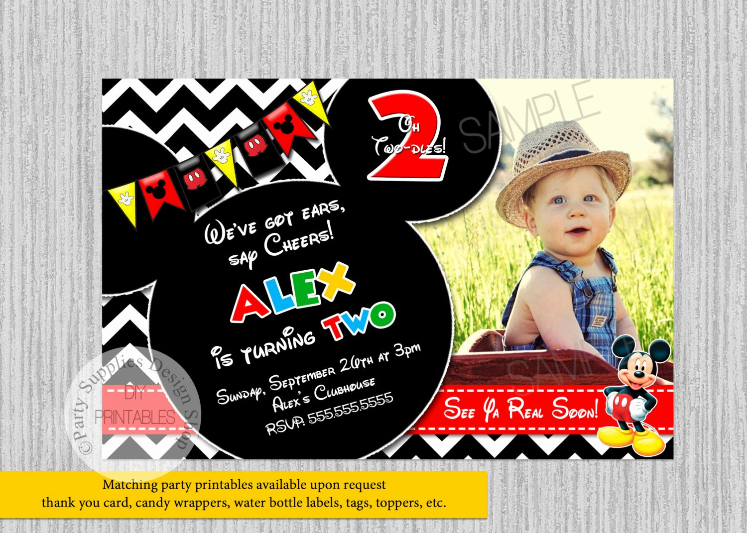 Mickey Mouse Birthday Party Invitations Elegant Mickey Mouse 2nd Birthday Invitations Mickey Mouse Clubhouse