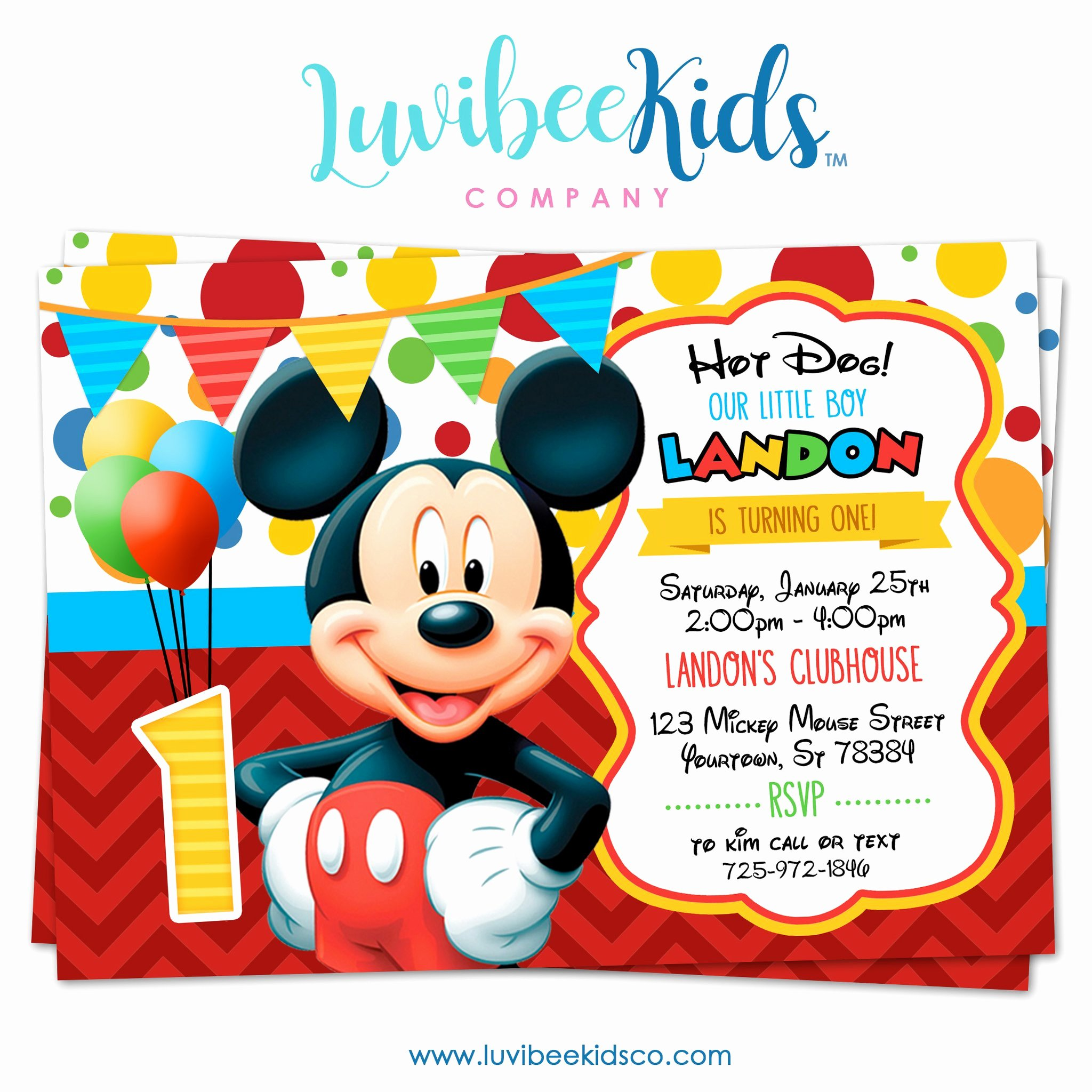 Mickey Mouse Birthday Party Invitations Elegant Mickey Mouse Birthday Invitation Printable Invite Style 01 – Luvibeekidsco