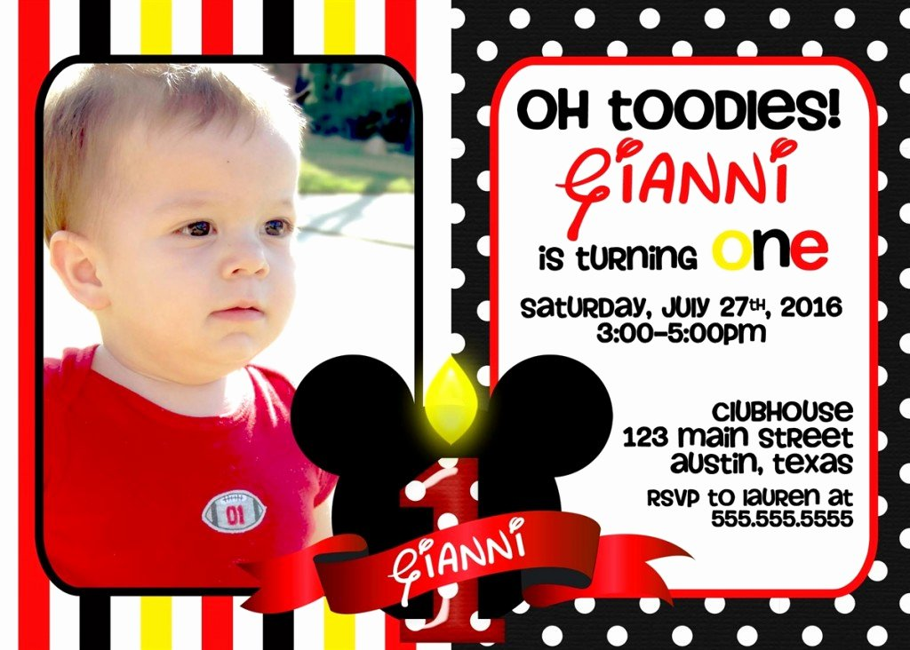 Mickey Mouse Birthday Party Invitations Fresh Mickey Mouse 1st Birthday Invitations Ideas – Bagvania Free Printable Invitation Template