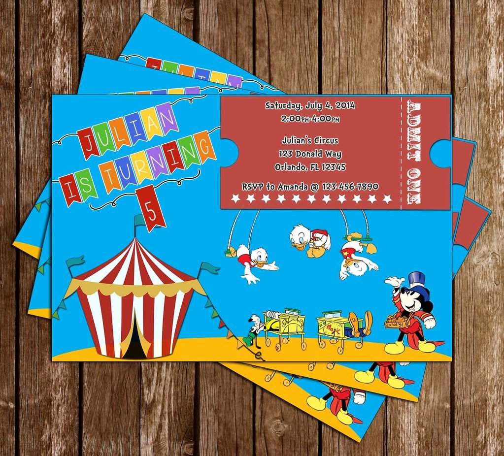 Mickey Mouse Birthday Party Invitations Fresh Novel Concept Designs Disney Mickey Mouse Circus Birthday Party Invitation