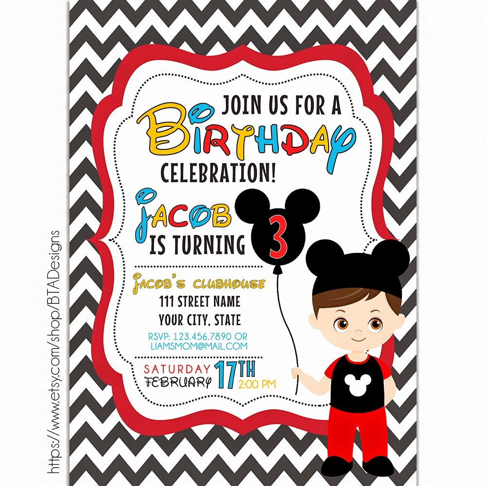 Mickey Mouse Birthday Party Invitations Inspirational Mickey Mouse Inspired Birthday Invitations Free Printable