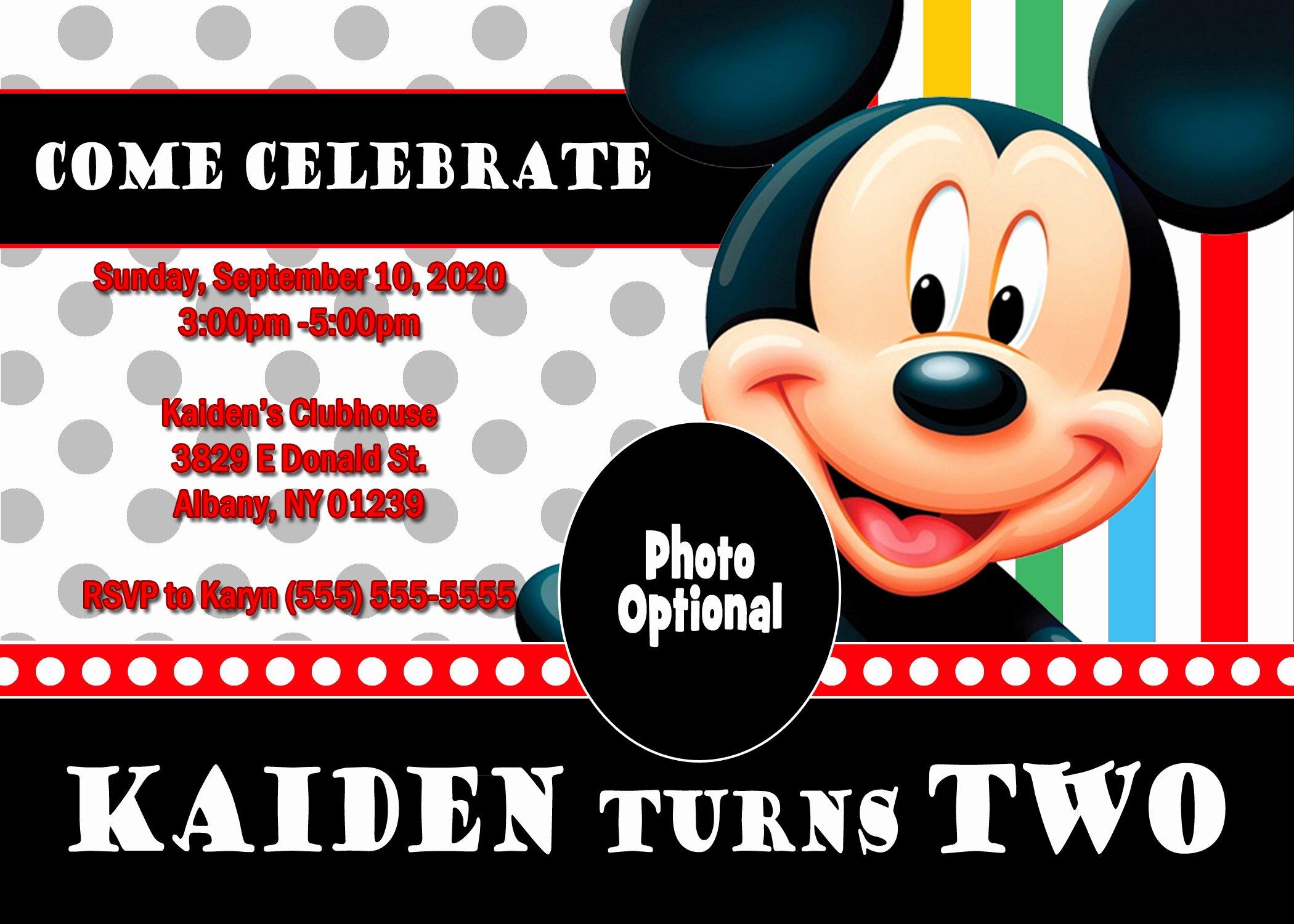 Mickey Mouse Birthday Party Invitations Lovely Mickey Mouse and Mickey Mouse Clubhouse Birthday Invitations