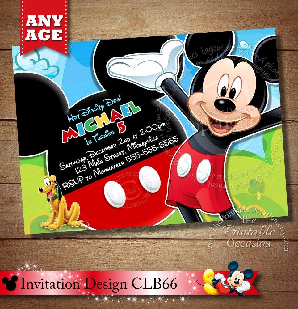Mickey Mouse Birthday Party Invitations Lovely Mickey Mouse Clubhouse Invitation Mickey Invitation Mickey